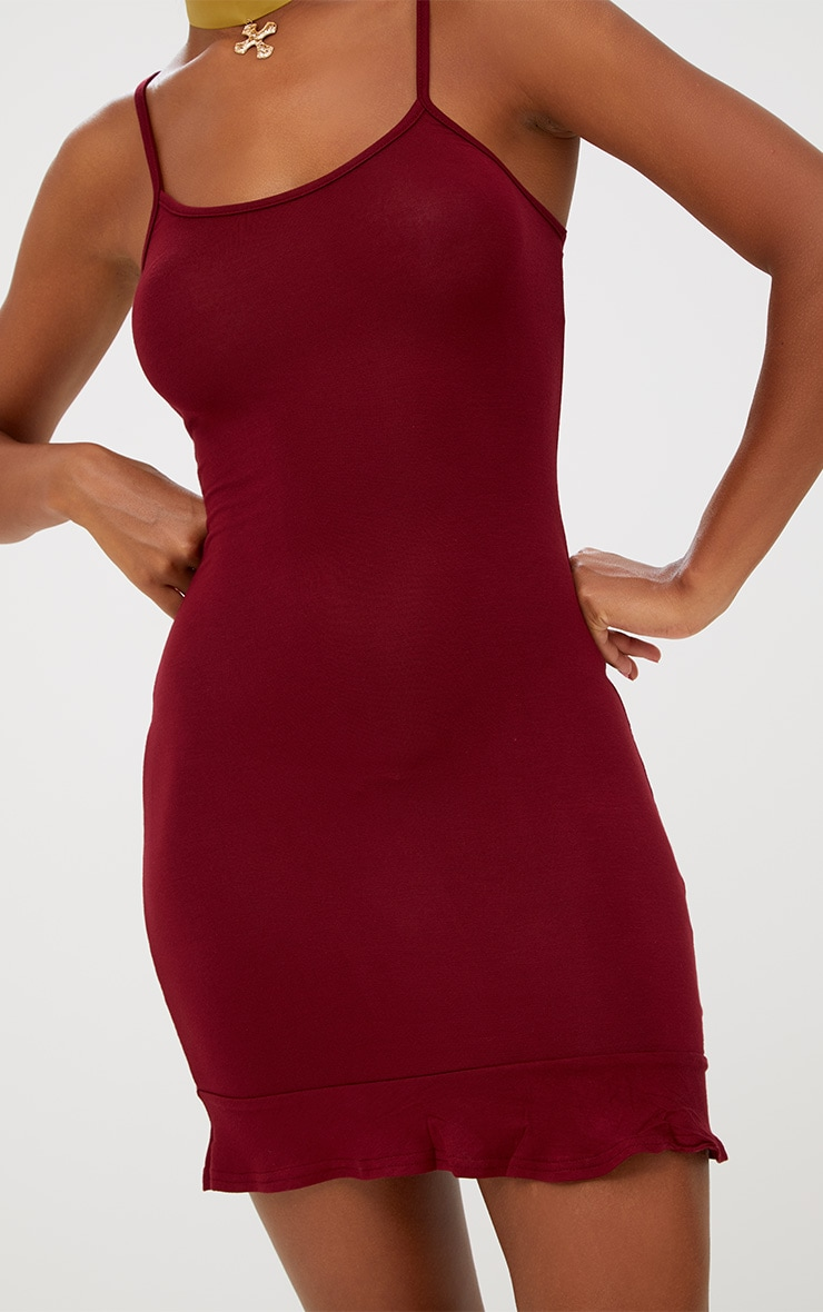 Burgundy Frill Hem Bodycon Dress 5
