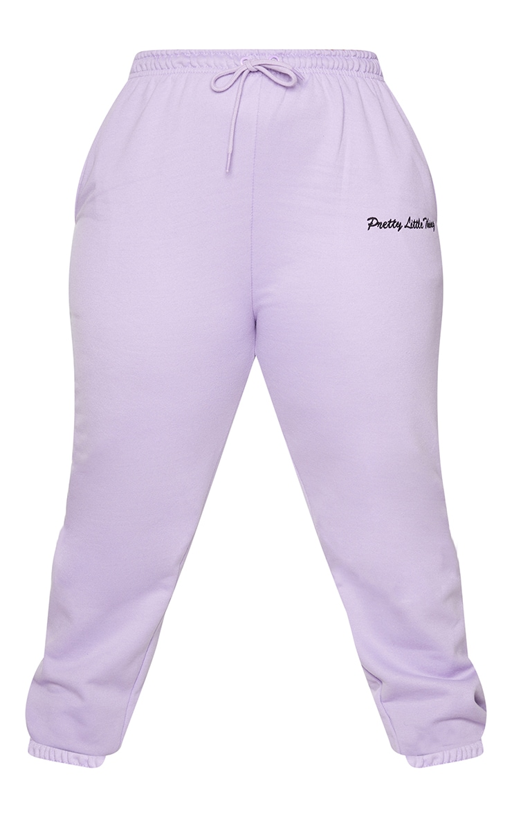 PRETTYLITTLETHING Plus Lilac Embroidered Joggers 5