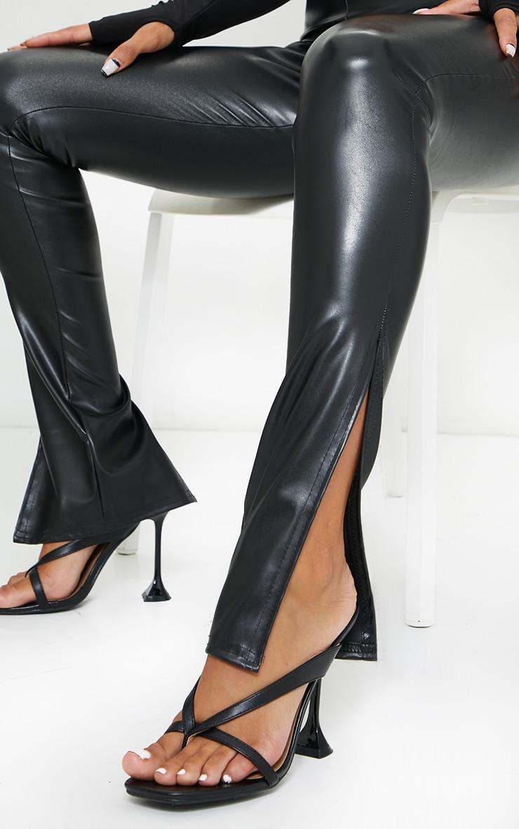 Black Faux Leather Split Hem Pants 4