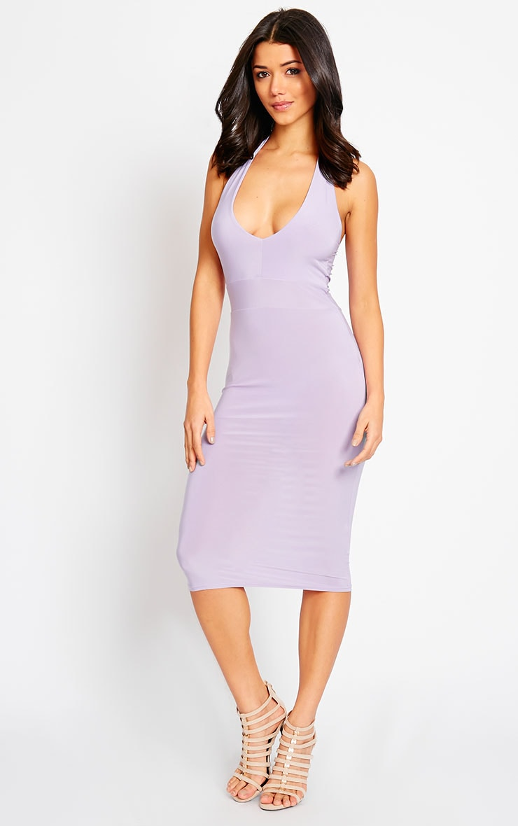 Lilly Lilac Slinky Halterneck Midi Dress 4