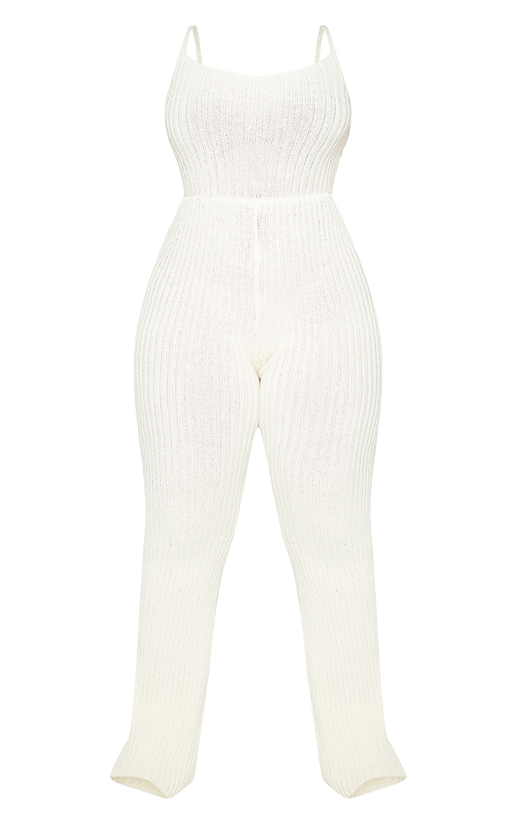 Plus Cream Strappy Knitted Flared Leg Jumpsuit 5