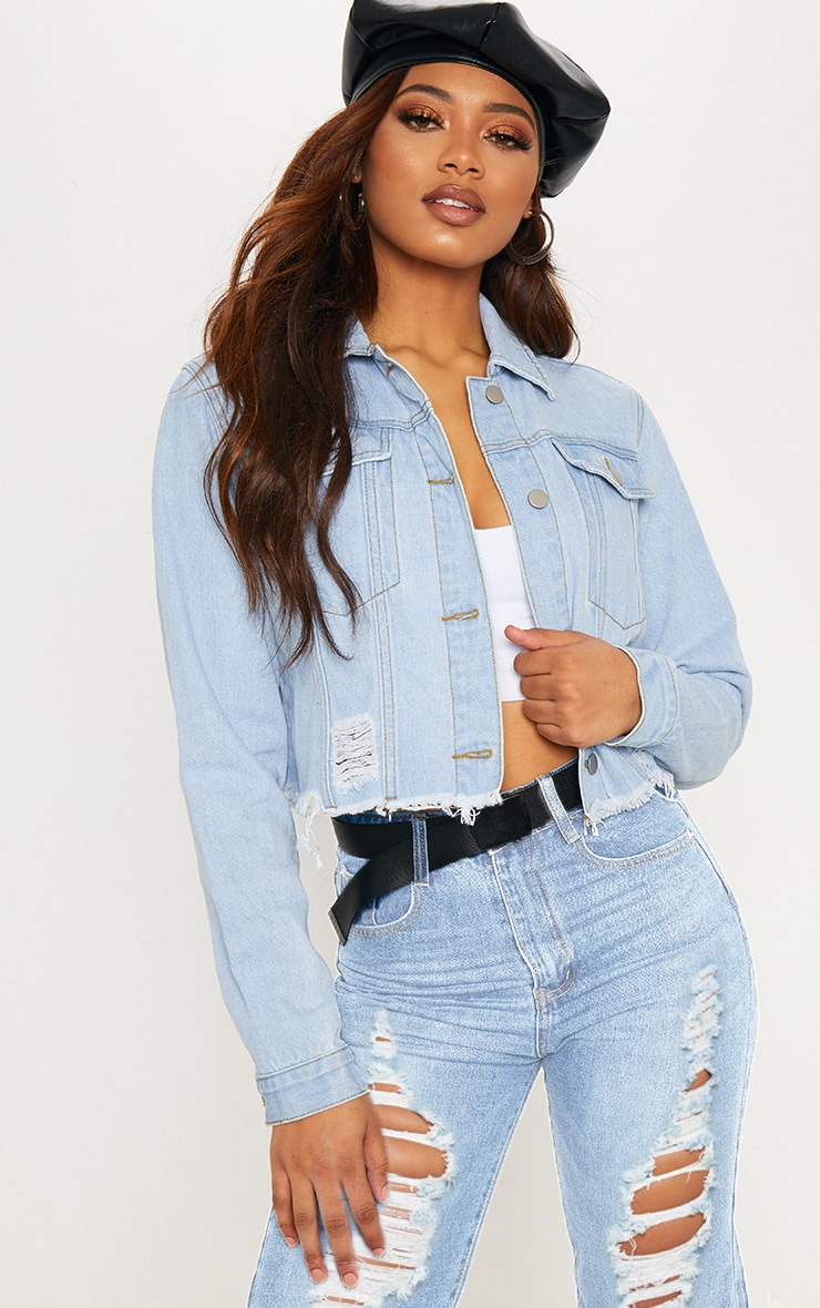 Tall Light Wash Cropped Denim Jacket 2