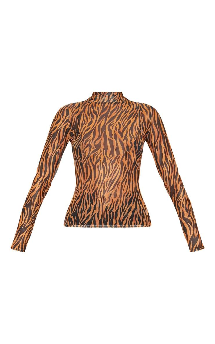 Orange Tiger Printed High Neck Top 3