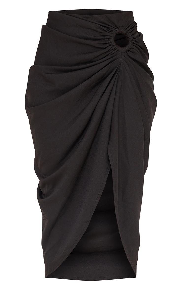 Black Woven O Ring Cut Out Drape Midi Skirt 5