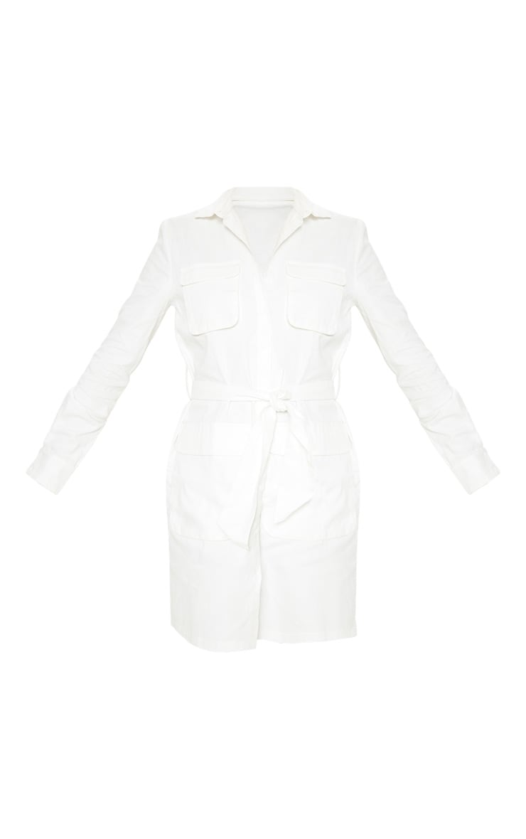 Tall White Utility Tie Waist Shirt Dress 3
