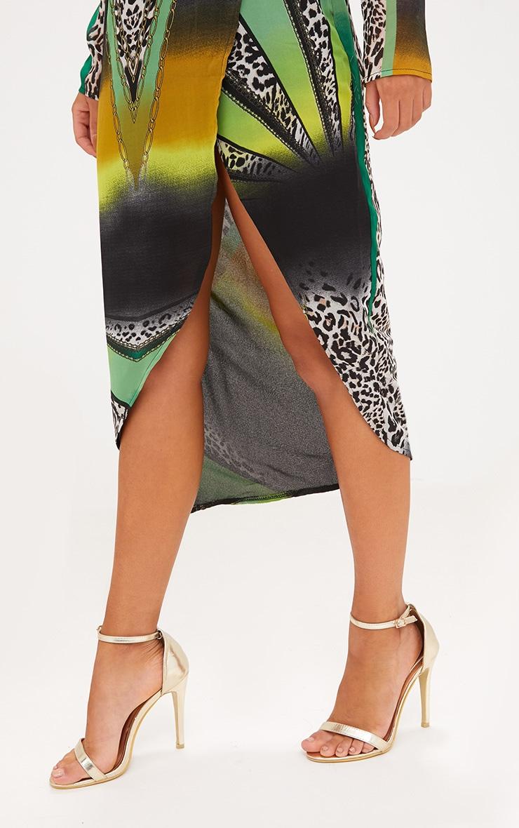 Green Animal Print Scarf Print Midi Dress 4