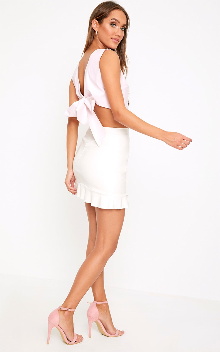 Baby Pink PU Bow Back Top 4