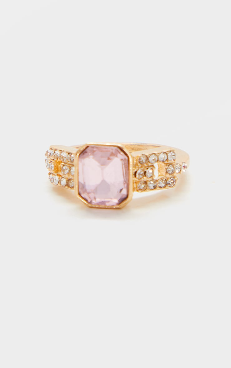 Gold Large Pink Stone Silver Diamante Ring 3