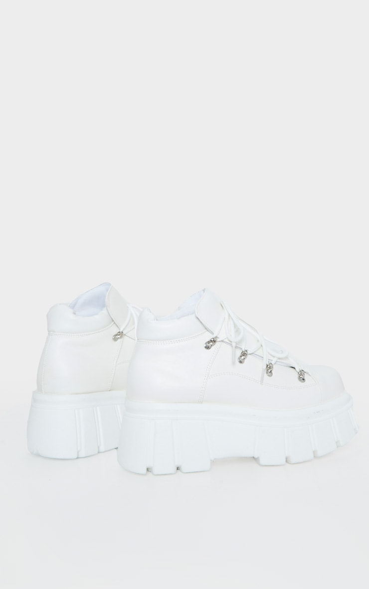 White Extreme Flatform Chunky Sole Ankle Boot 4