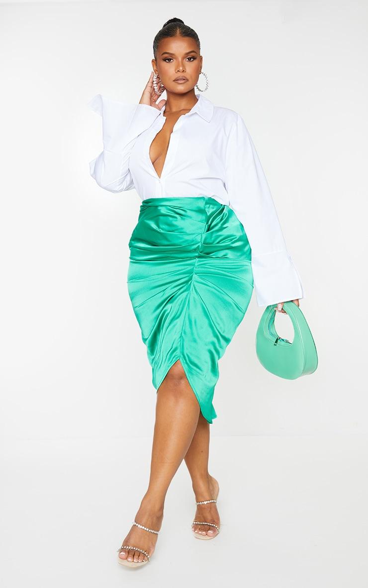Plus Bright Green Satin Ruched Split Midi Skirt 1