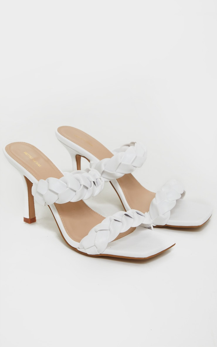 White Square Toe Twin Strap Pu Platted Mule Heels 2