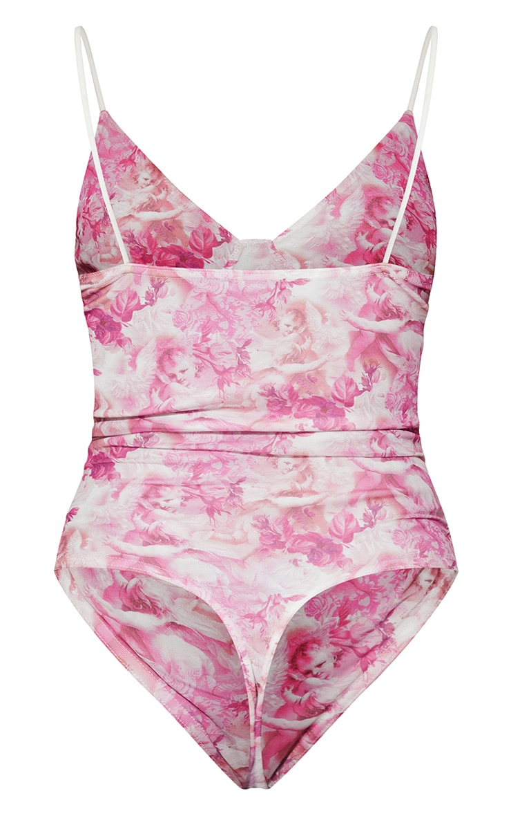Dusty Pink Renaissance Print Cup Detail Bodysuit 6