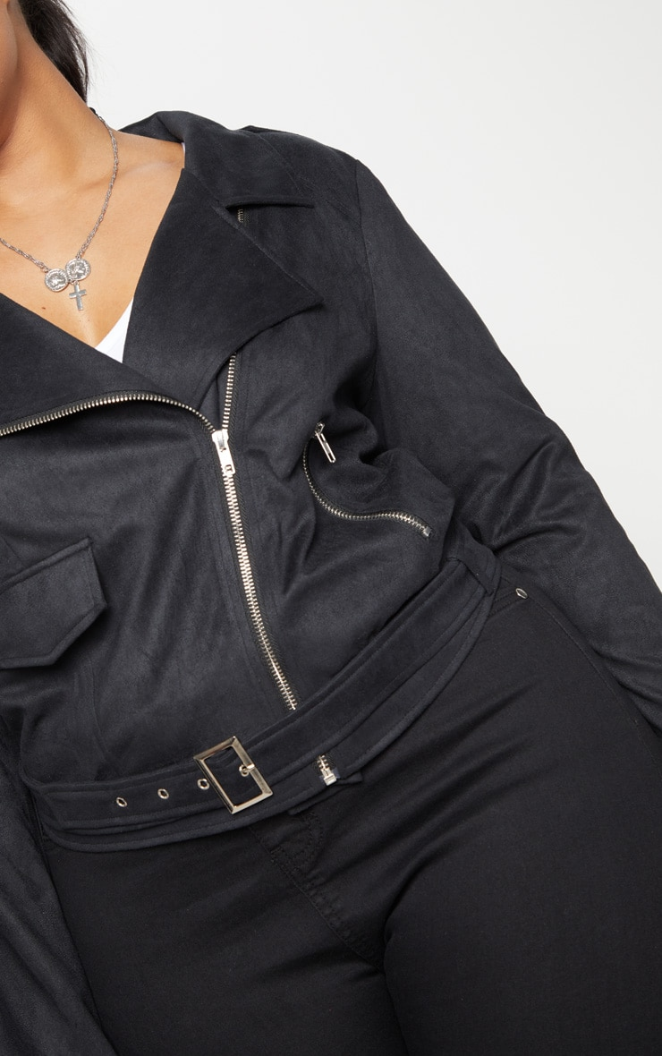 Plus Black Faux Suede Biker Jacket 5