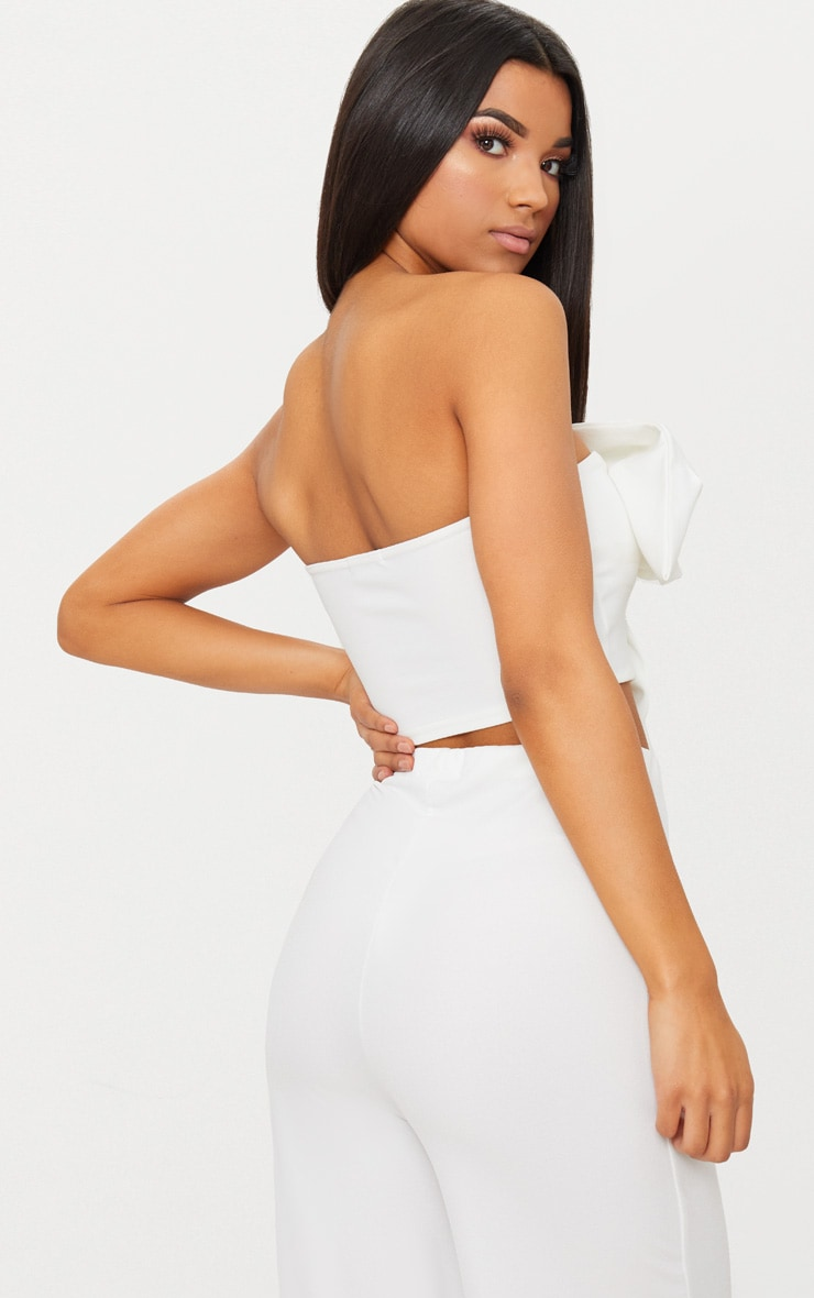 White Bow Front Bandeau Crop Top 2
