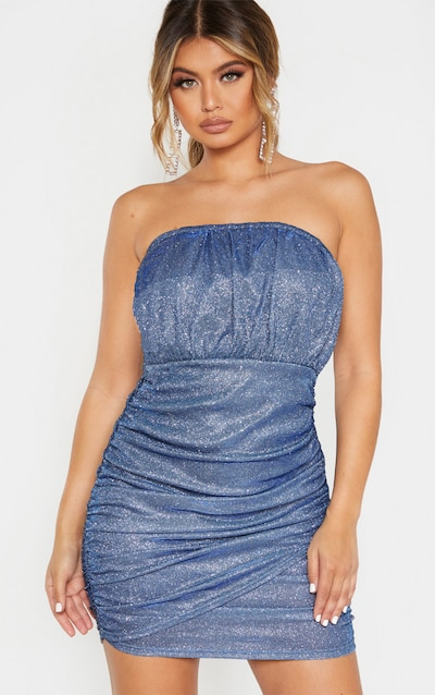 Blue Textured Metallic Glitter Ruched Bandeau Bodycon Dress