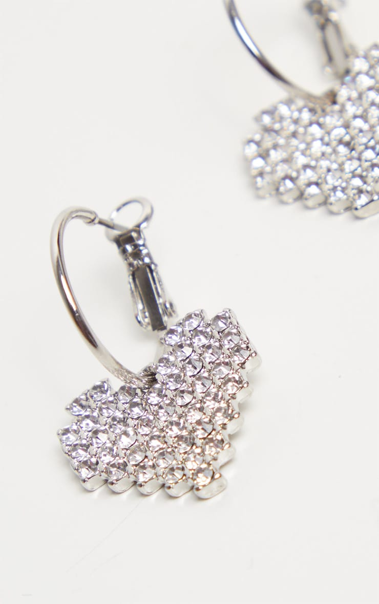 Silver Diamante Heart Small Hoop Earrings 3