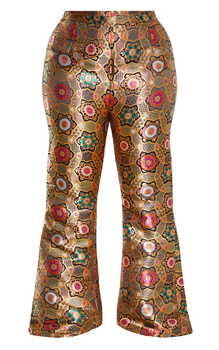 Plus Gold Jacquard High Waisted Flared Pants 3
