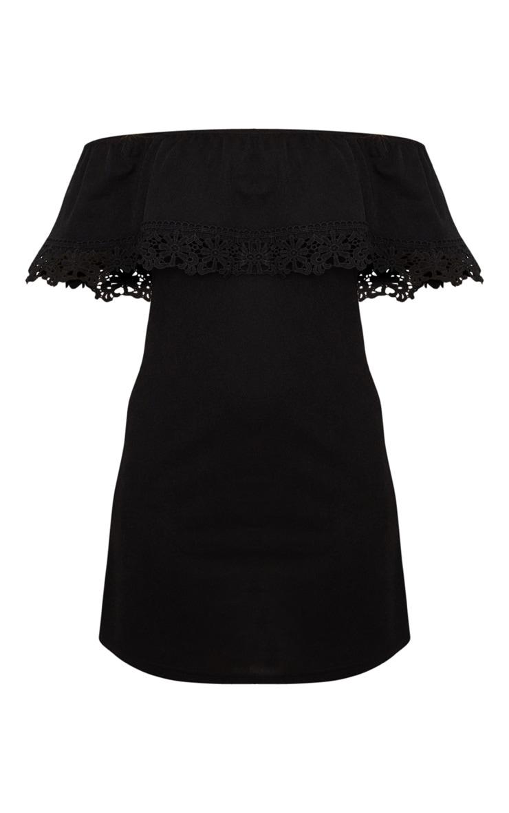 Black Lace Trim Bardot Smock Dress 3