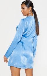 Bright Blue Button Front Collared Blazer Dress 2