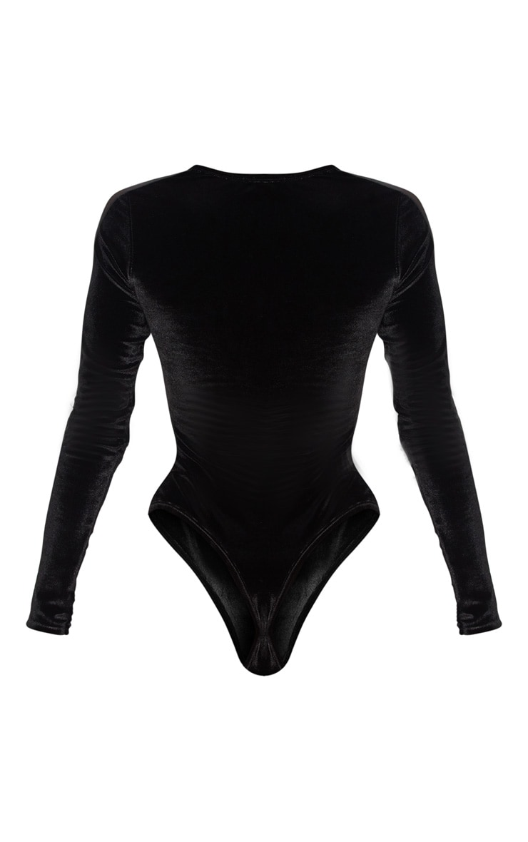 Black Velvet Long Sleeve Mesh Bodysuit 4