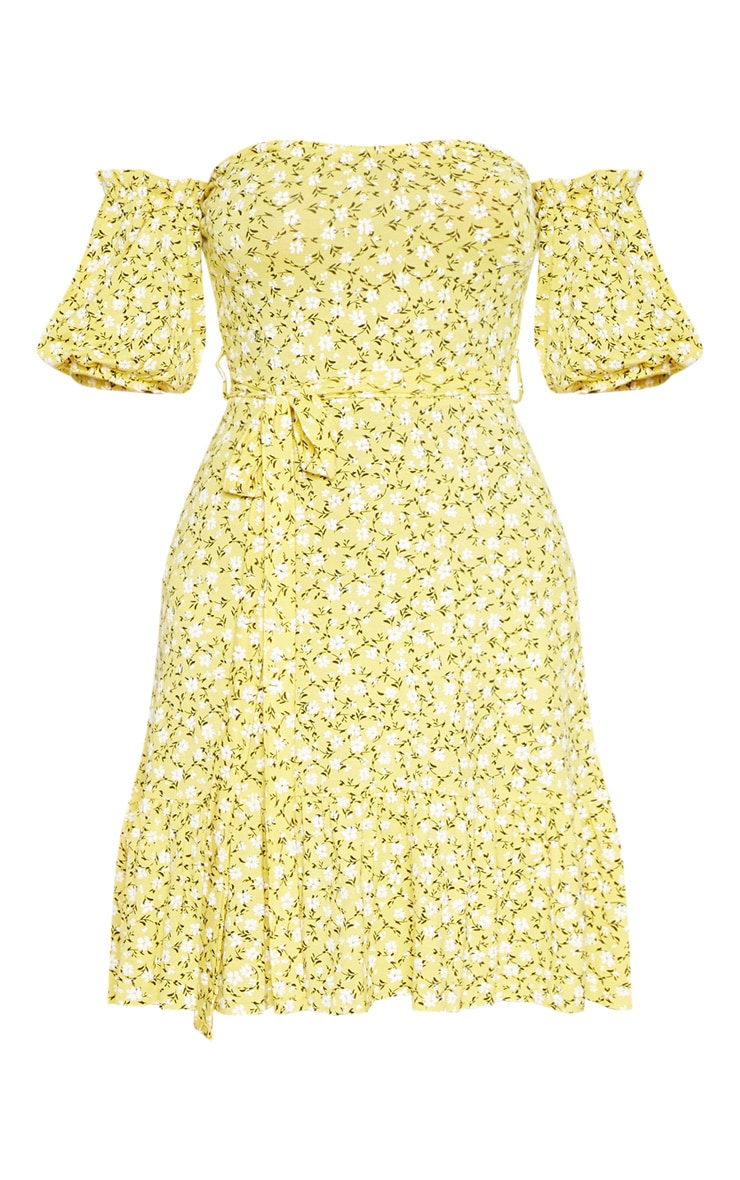 Yellow Ditsy Print Bardot Frill Hem Skater Dress 3