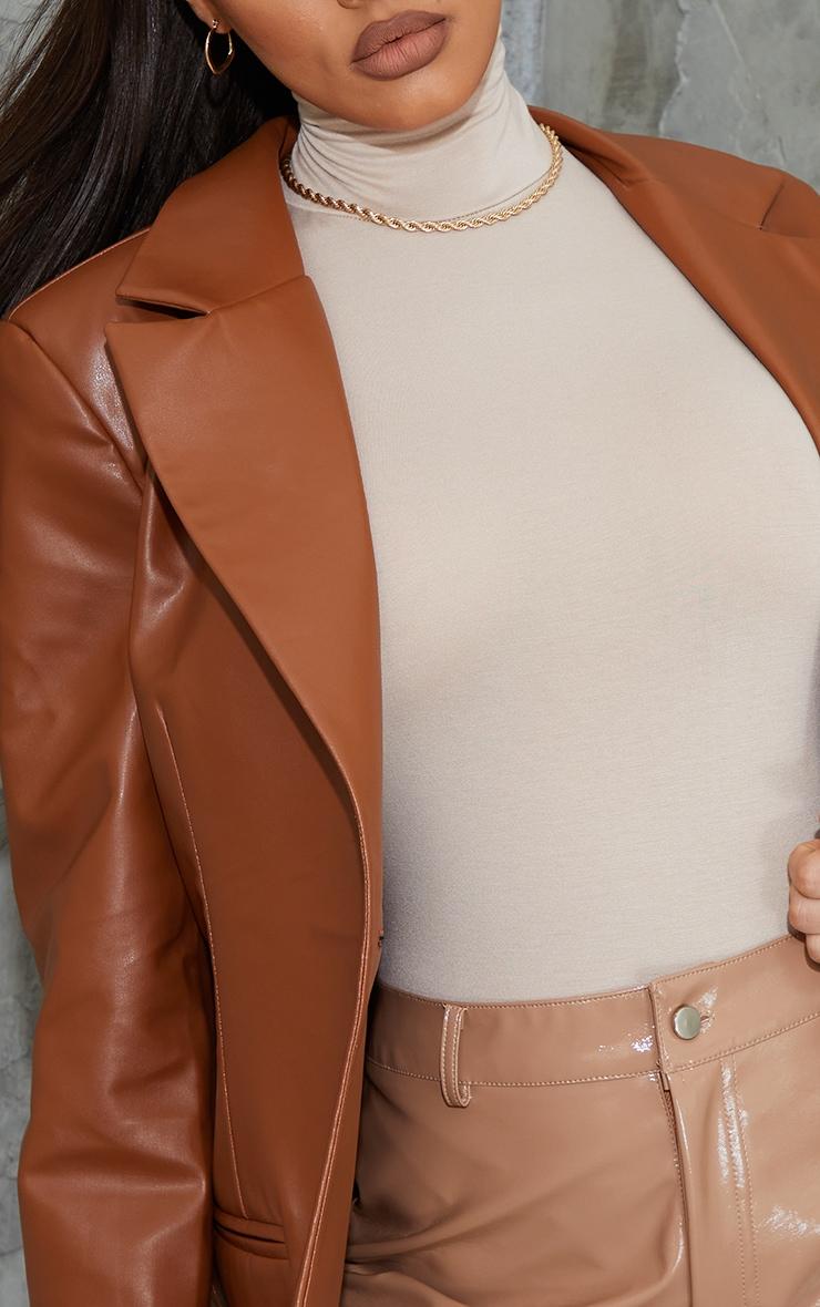 Toffee Faux Leather Blazer 5