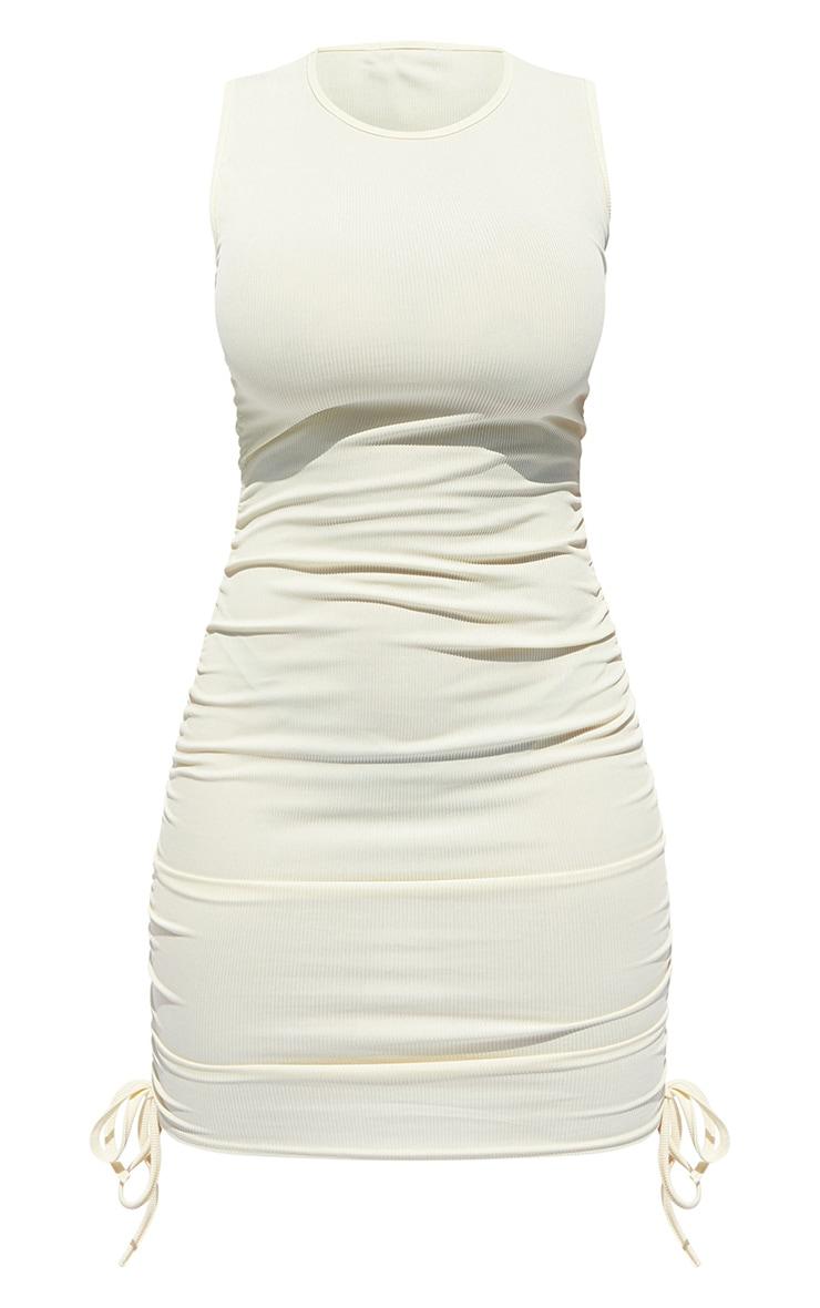 Shape Cream Rib Ruched Side Sleeveless Bodycon Dress 5