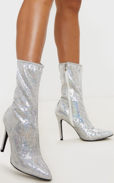 Silver Sequin Point Toe Ankle Boot