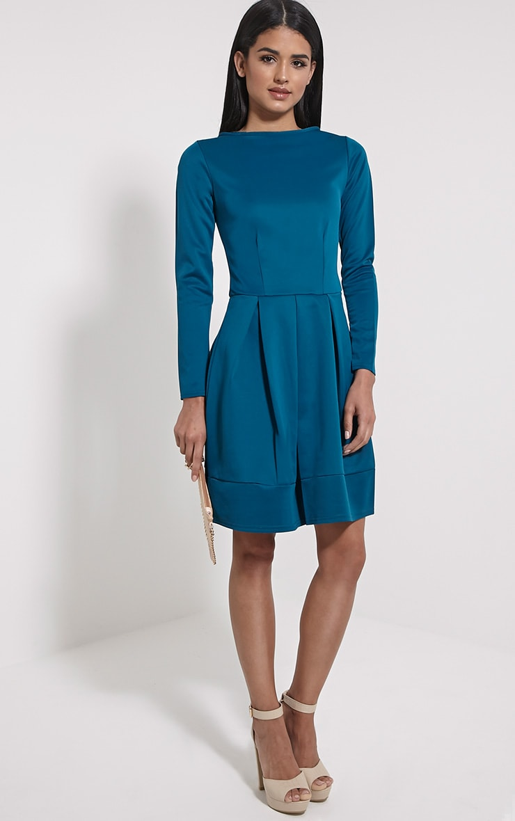 Grace Teal Box Pleat Long Sleeve Skater Dress 3
