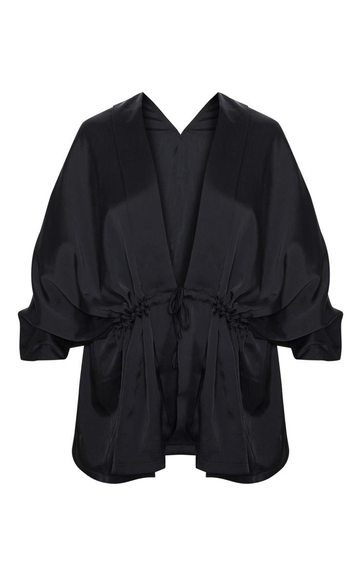 Black Textured Woven Plunge Tie Waist Blouse 3