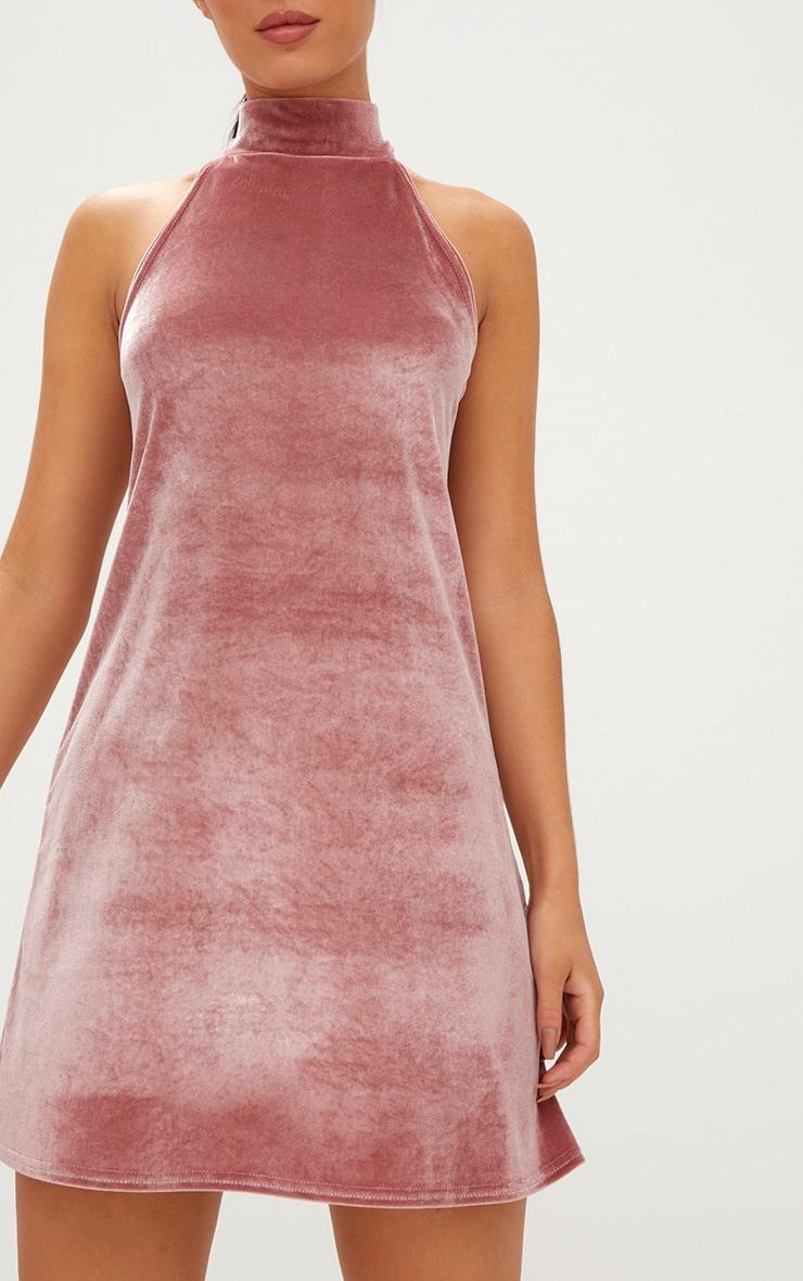 Rose Velvet High Neck Swing Dress 5