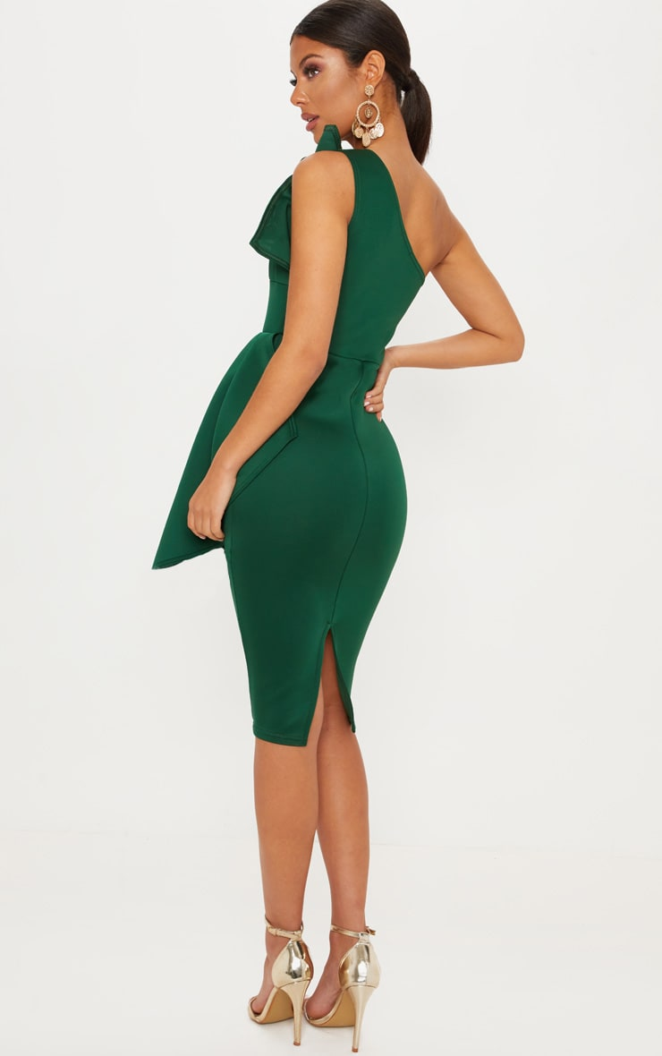 Emerald Green One Shoulder Pleated Detail Midi Dress 2