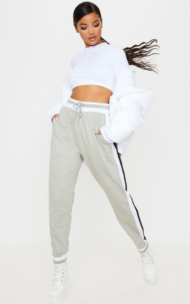 Grey Stripe Cuff Joggers 1