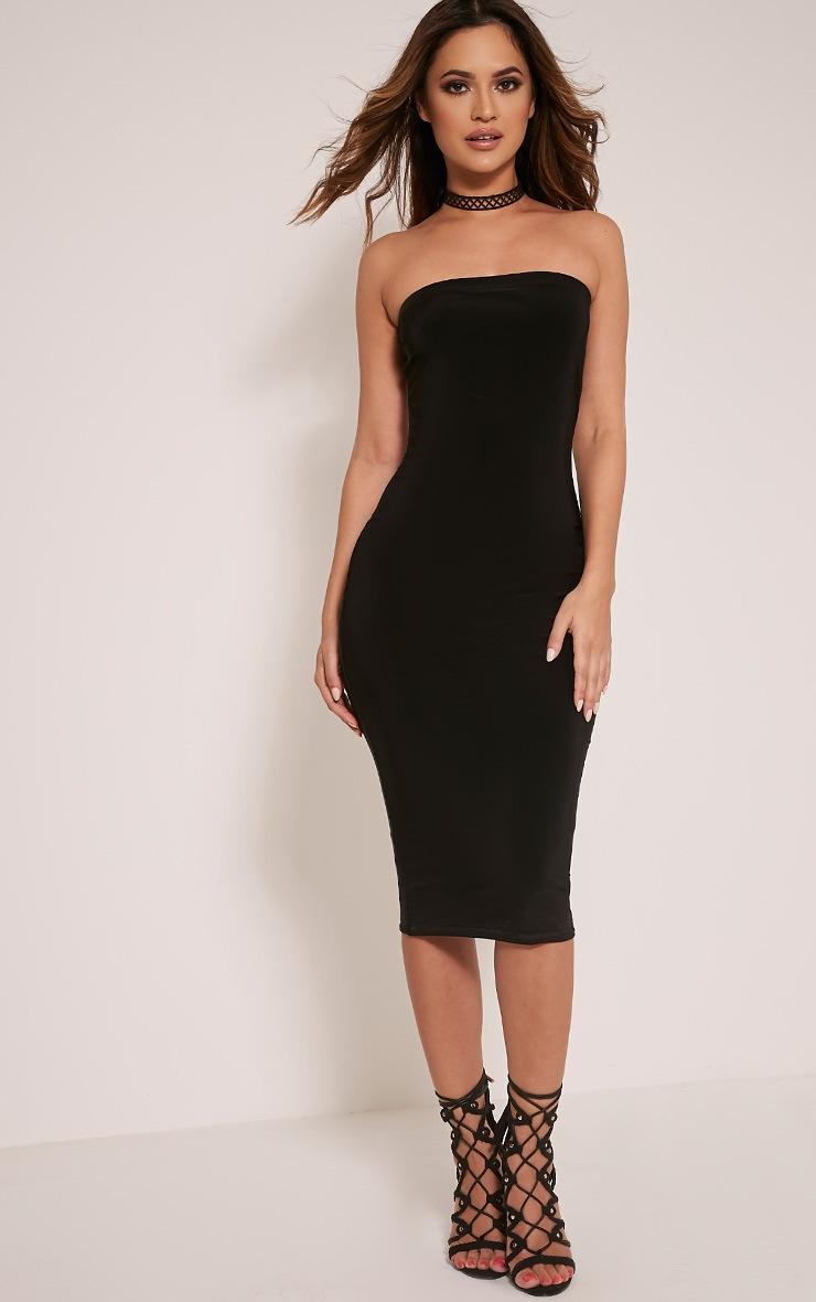 a8eb41ed6a6 Kia Black Bandeau Slinky Midi Dress | Dresses | PrettyLittleThing