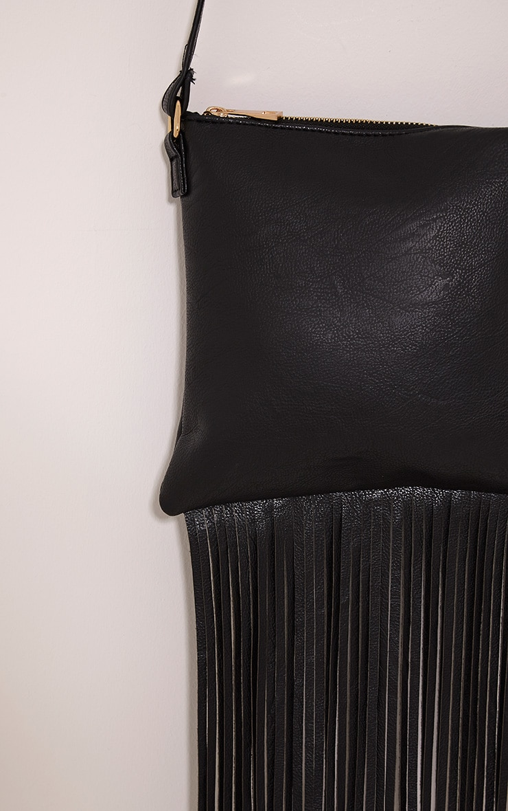 Bassie Black Faux Leather Fringe Bag 4