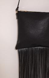 Bassie Black Faux Leather Fringe Bag 4