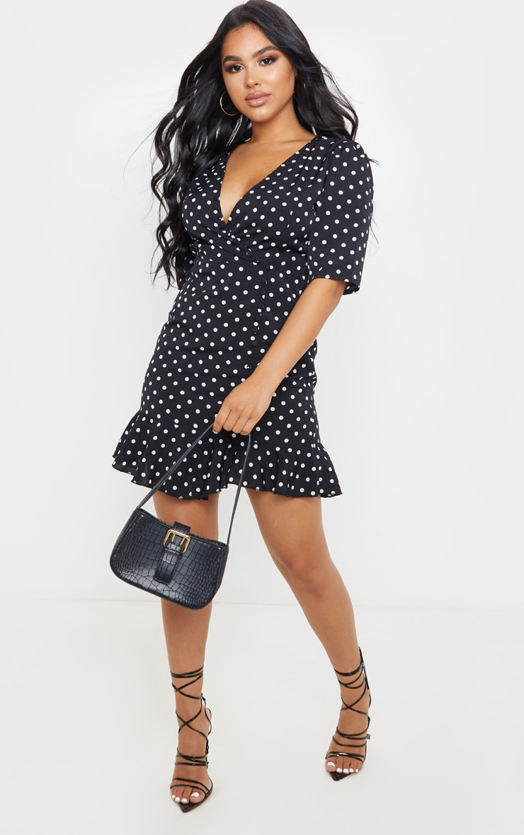 Petite Black Polka Dot Button Detail Frill Hem Tea Dress 4