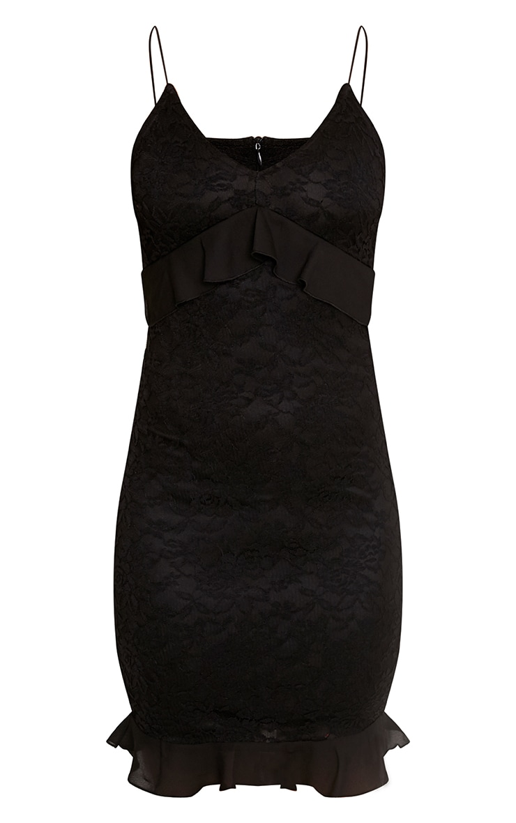 Yazminah Black Lace Frill Detail Bodycon Dress 3