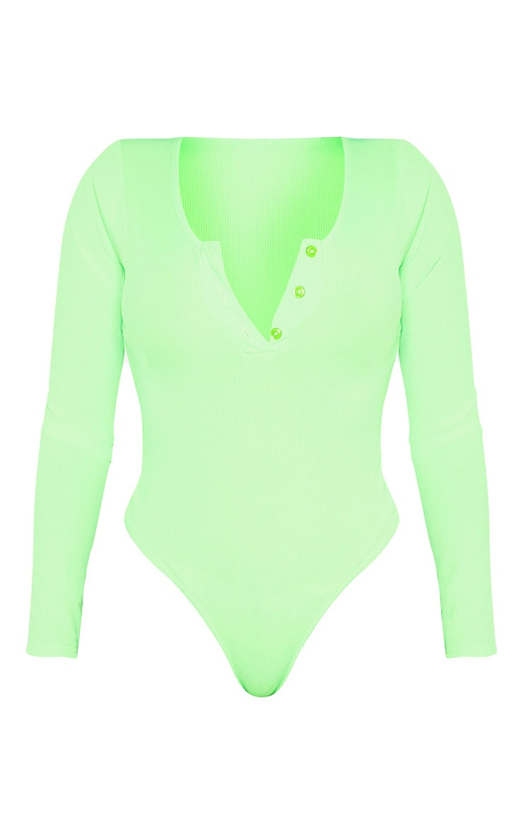 Shape Neon Lime Ribbed Long Sleeve Bodysuit 3