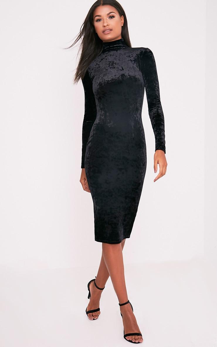 Amlia Black Velvet High Neck Midi Dress 5