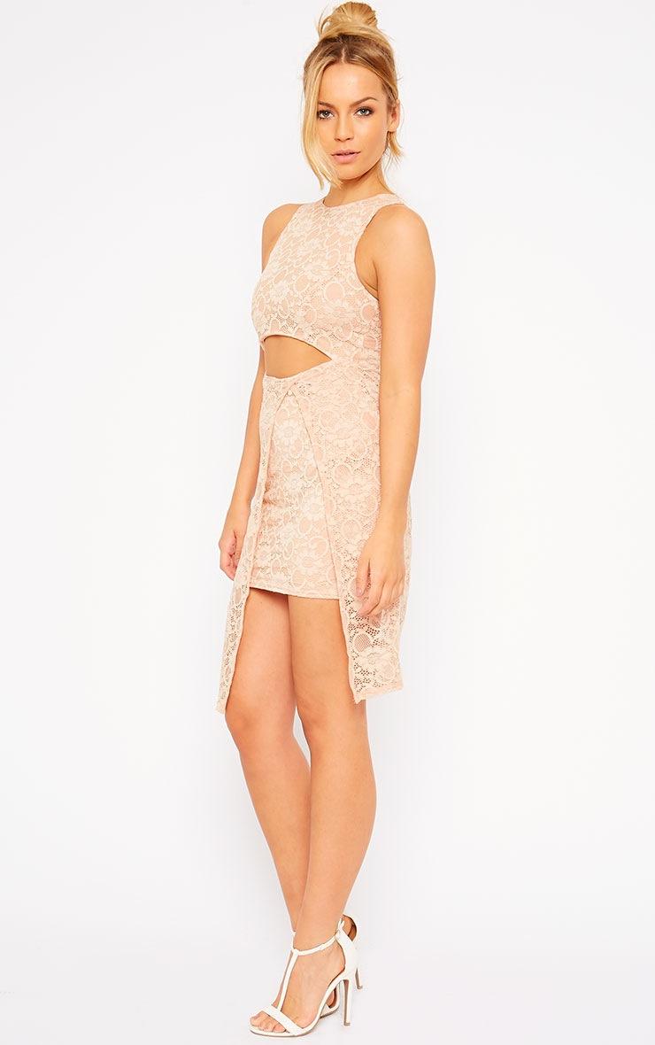 Maliha Nude Lace Cut Out Dress 3
