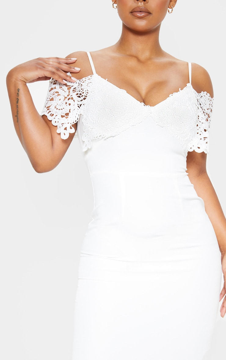 White Lace Cami Cold Shoulder Bodycon Midi Dress 4