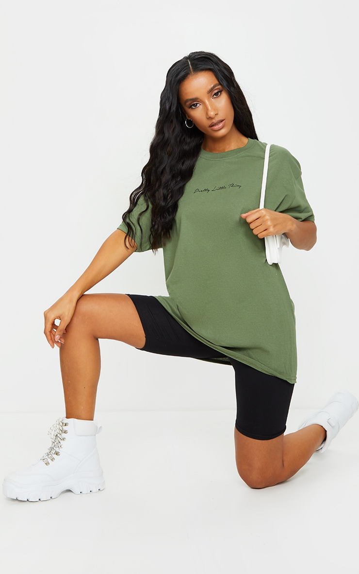 PRETTYLITTLETHING Khaki Slogan Oversized T Shirt 3