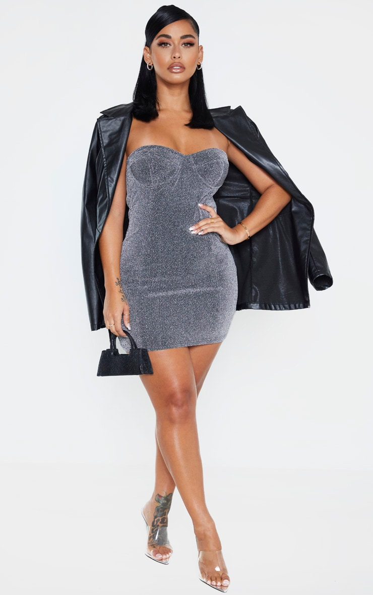 Shape Silver Glitter Cup Detail Bodycon Dress 1