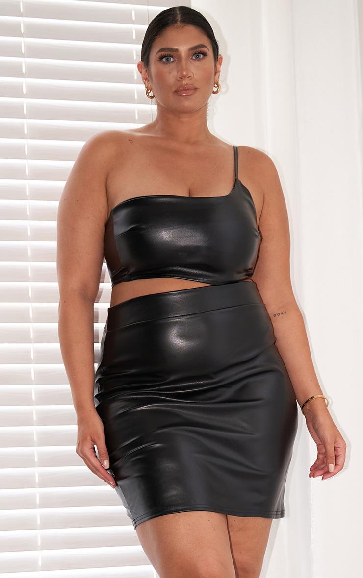 Plus Black Basic Faux Leather Mini Skirt 1