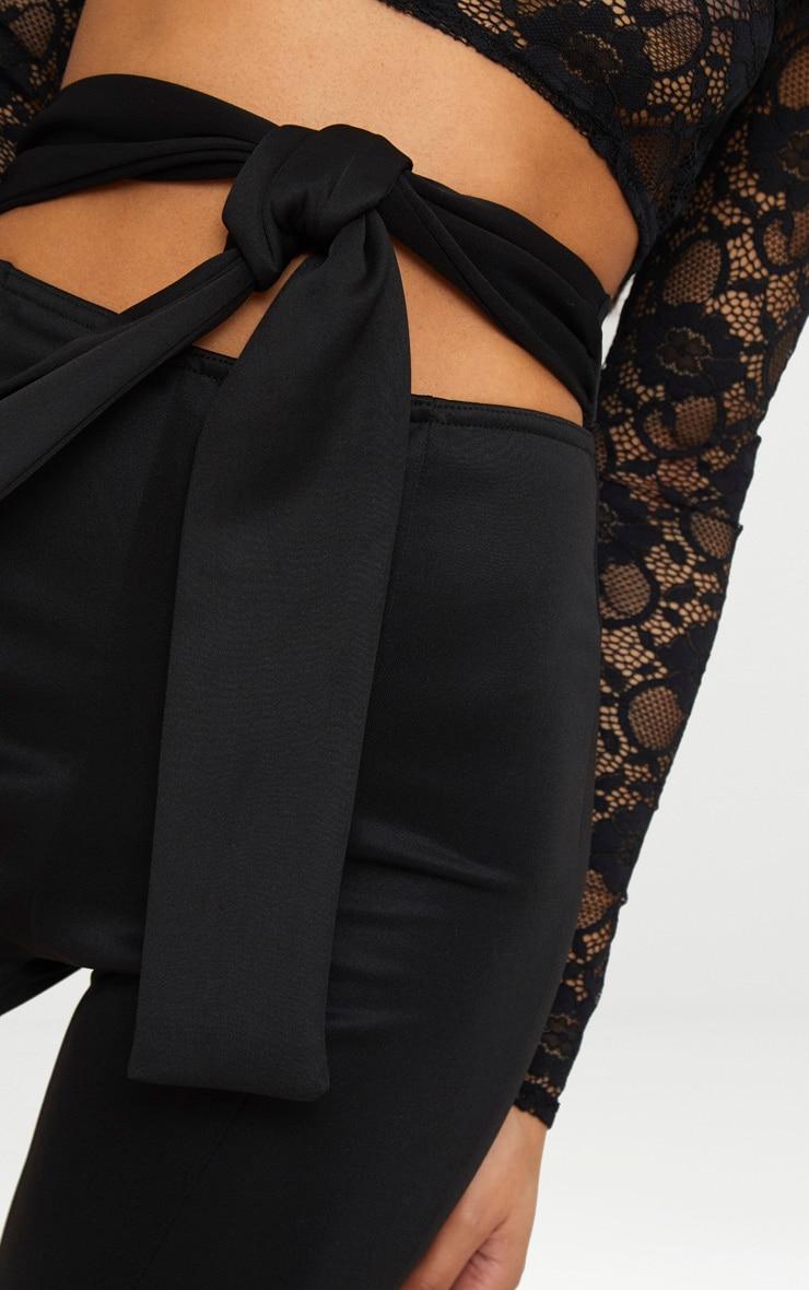 Black Scuba Cut Out Waist Band Tie Skinny Trouser 5