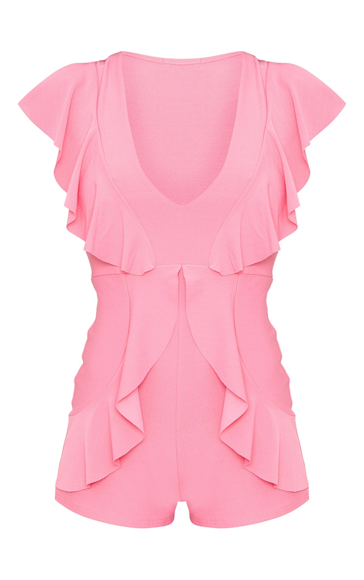 Pink Frill Front Plunge Playsuit 3