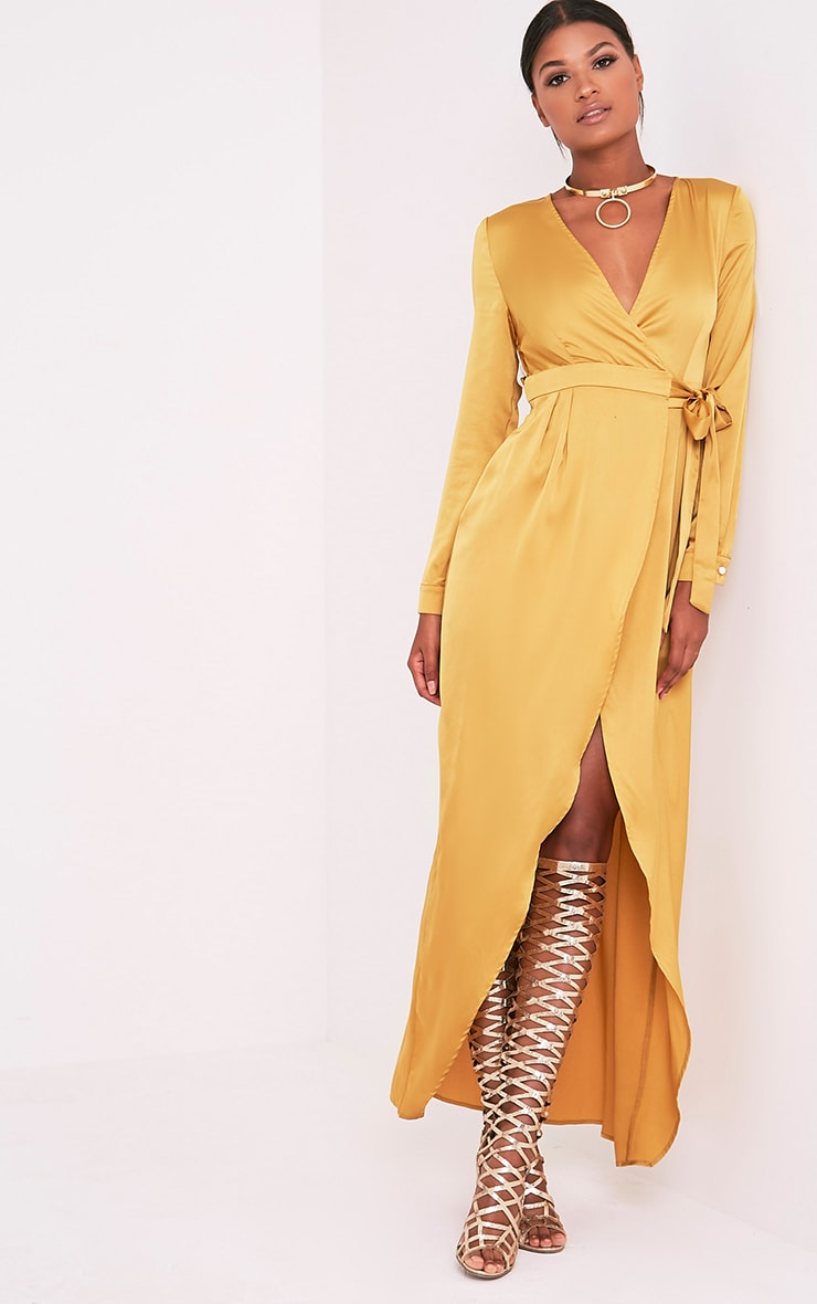 Kallie Dark Gold Wrap Detail Satin Maxi Playsuit 6