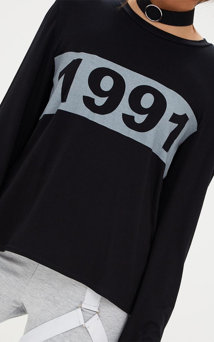 Black 1991 Slogan Longsleeve Top 5