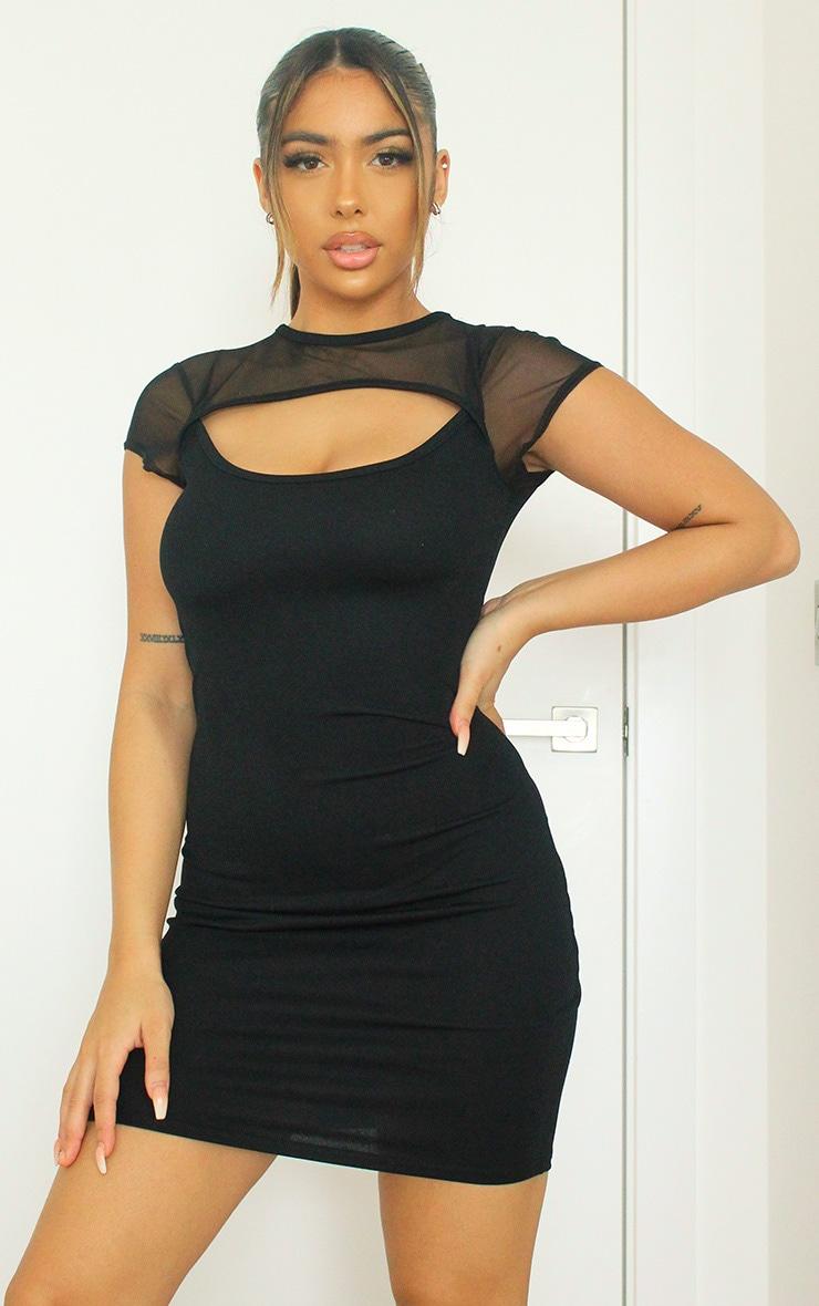 Black Mesh Bodice Cut Out Short Sleeve Bodycon Dress 1